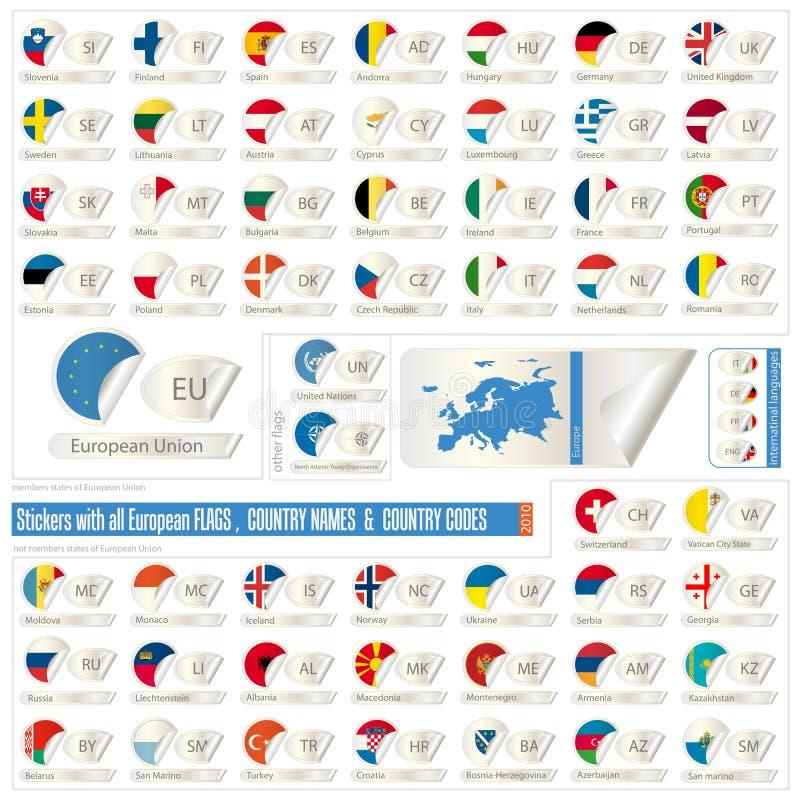 todas as bandeiras, nomes & abreviaturas europeus ilustração do vetor