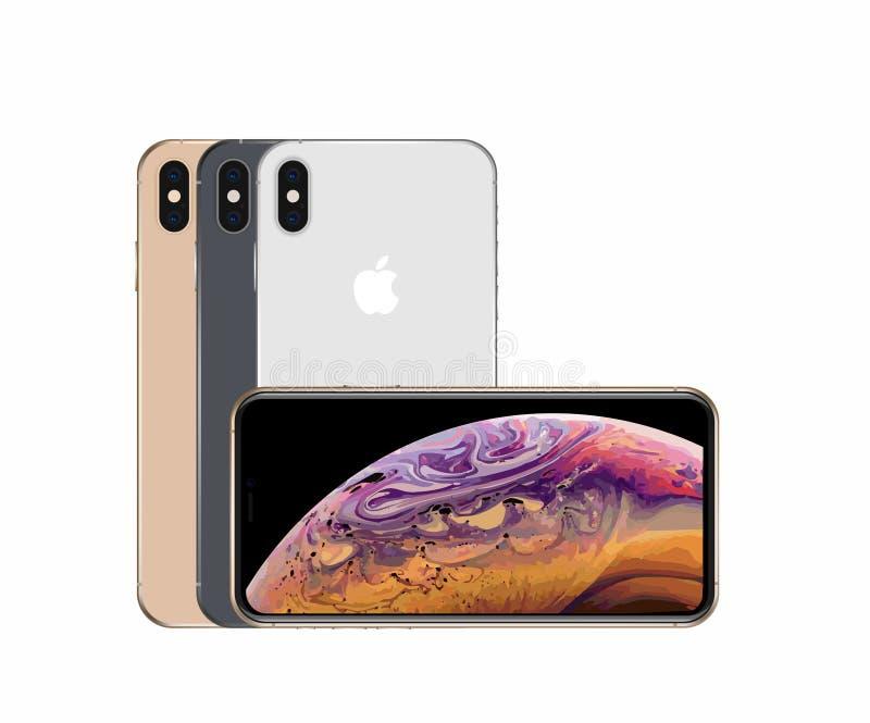 Todas as cores dos xs do iPhone máximos ilustração royalty free