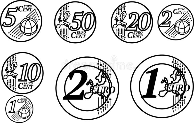Todas as moedas do Euro da União Europeia ilustração royalty free