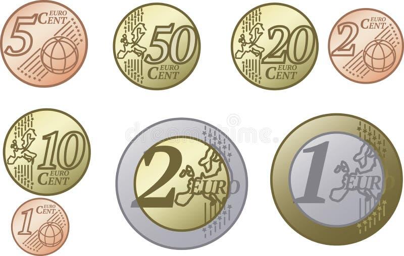 Todas as moedas do Euro da União Europeia ilustração do vetor