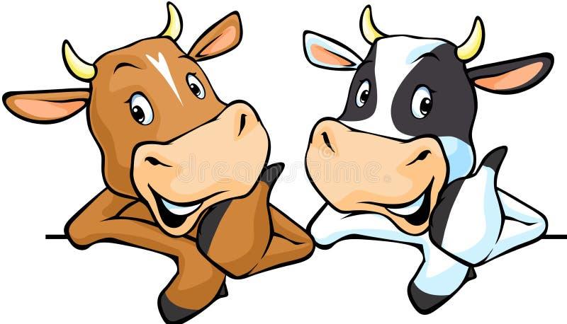 Todas as vacas recomendam com polegar acima - acobarde a ilustração do vetor ilustração royalty free