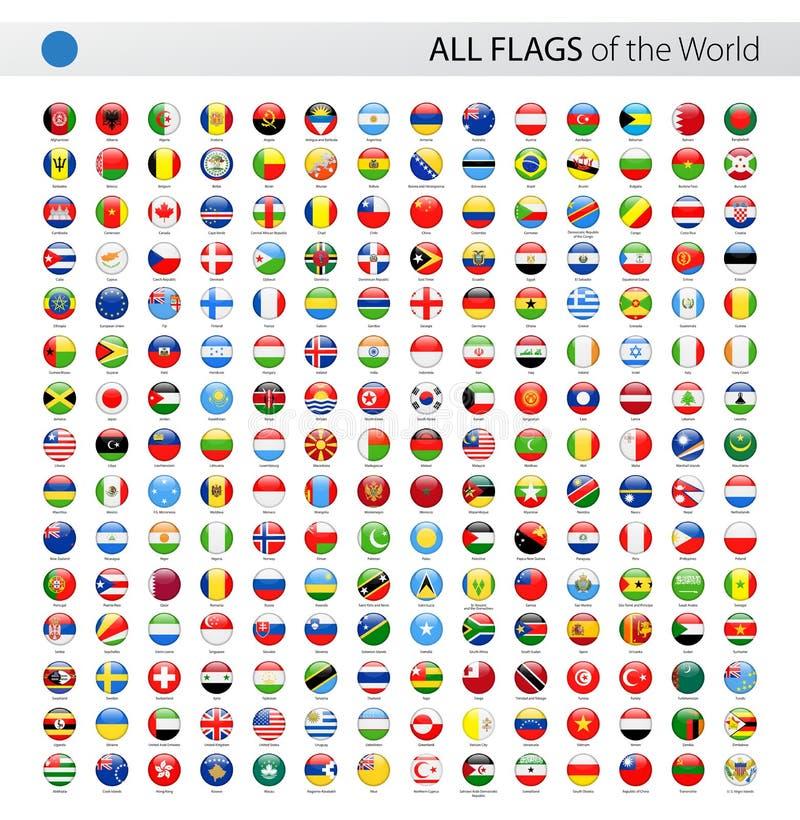 Todas las banderas brillantes redondas del vector del mundo - colección ilustración del vector
