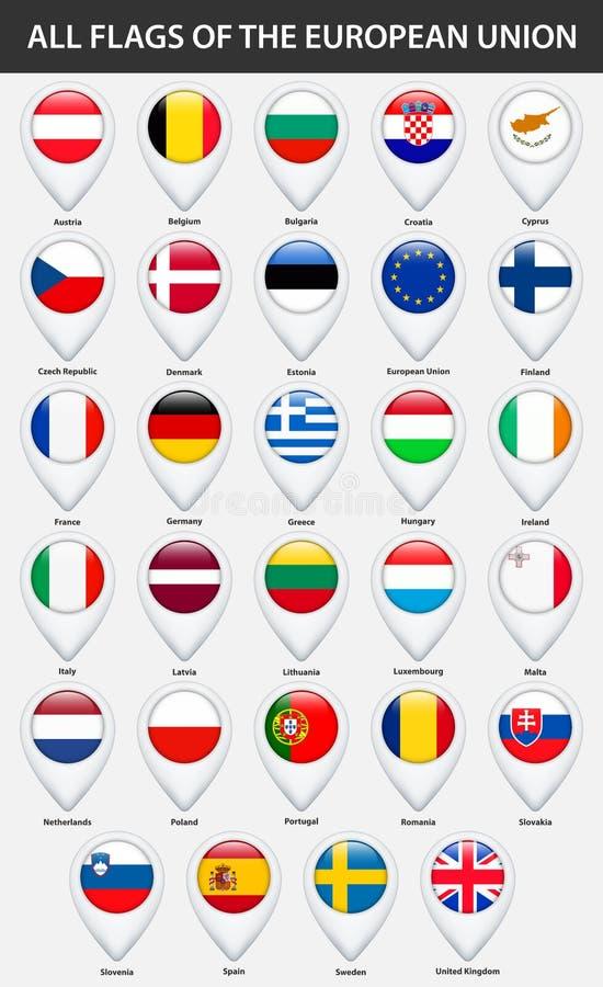 Todas las banderas de los países de la unión europea Estilo brillante del indicador del mapa del Pin stock de ilustración