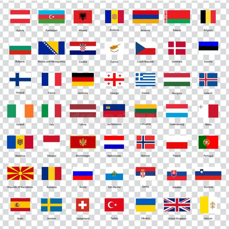 Todas las banderas de los países de la unión europea Lista de todas las banderas de países europeos con las inscripciones y propo libre illustration