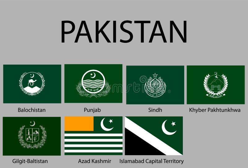 todas las banderas de regiones de Paquistán stock de ilustración