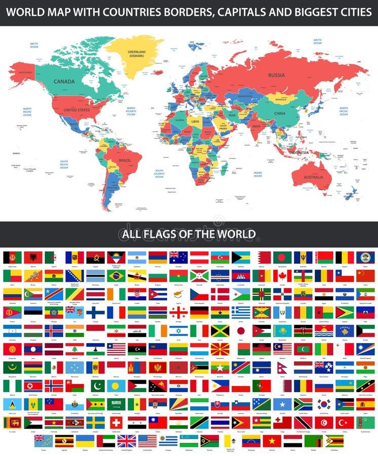Todas las banderas del mundo en orden alfabético y del mapa del mundo detallado con las fronteras, países, grandes ciudades stock de ilustración