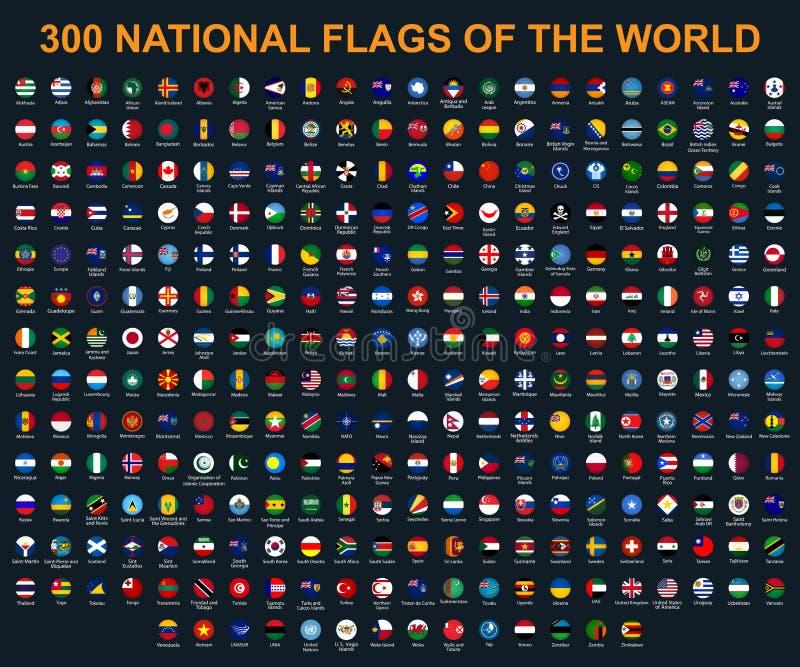 Todas las banderas del mundo en orden alfab?tico Ronda, estilo brillante del c?rculo libre illustration