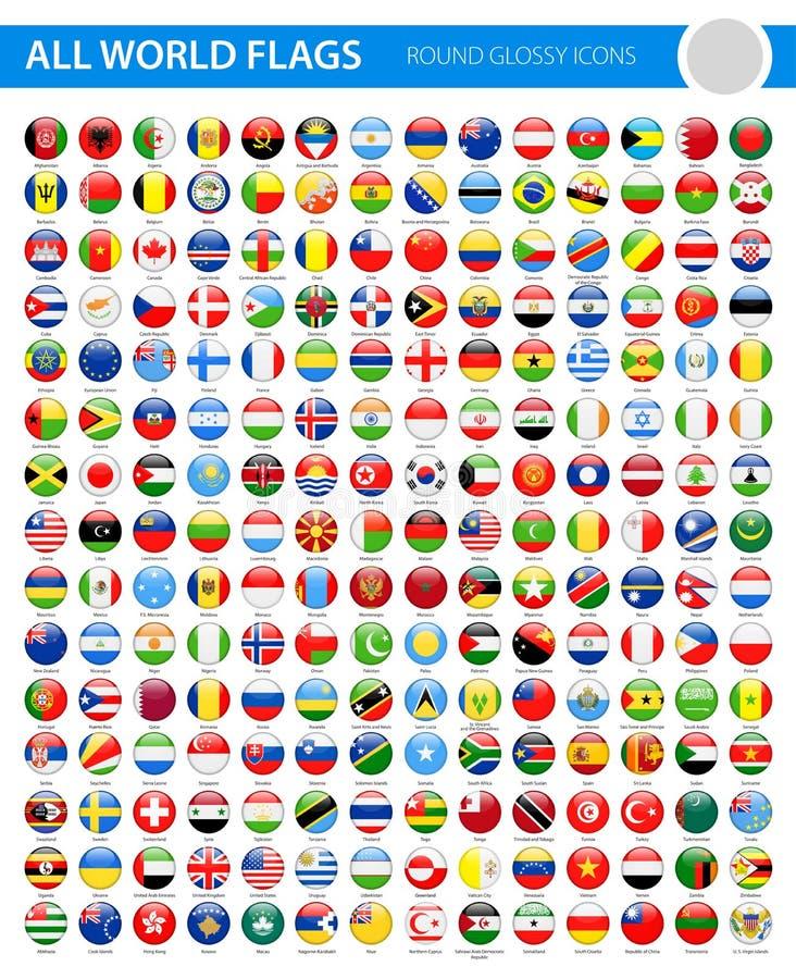 Todas las banderas del mundo - iconos brillantes redondos del vector stock de ilustración
