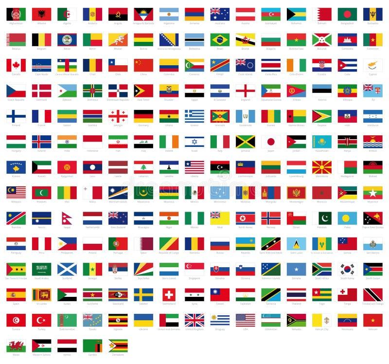 Todas las banderas nacionales del mundo con nombres - bandera de alta calidad del vector aislada en el fondo blanco stock de ilustración