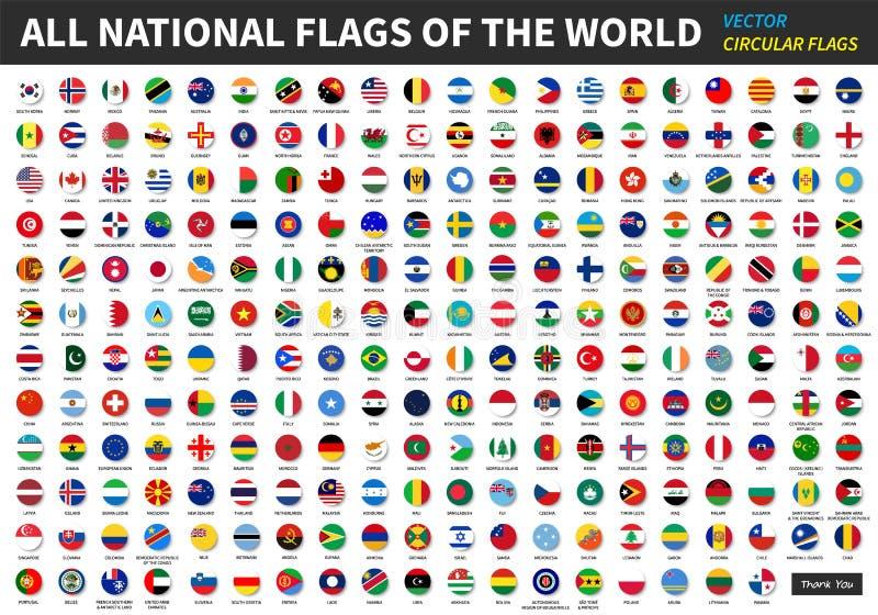 Todas las banderas nacionales oficiales del mundo Diseño circular ilustración del vector