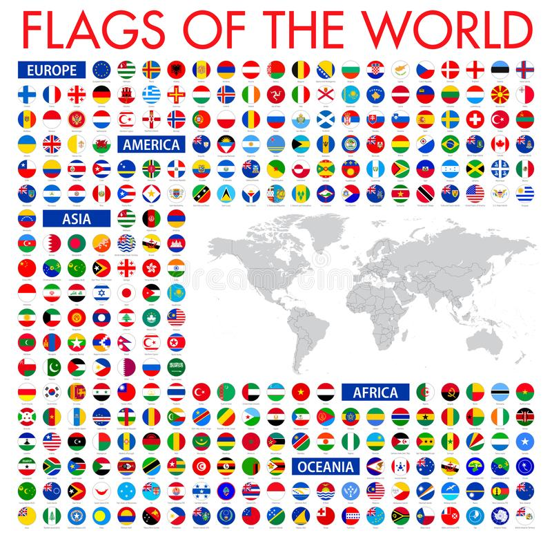 Todas las banderas nacionales oficiales del mundo Diseño circular Vecto libre illustration