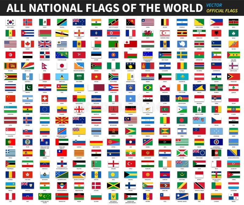 Todas las banderas nacionales oficiales del mundo Diseño formal Vector ilustración del vector