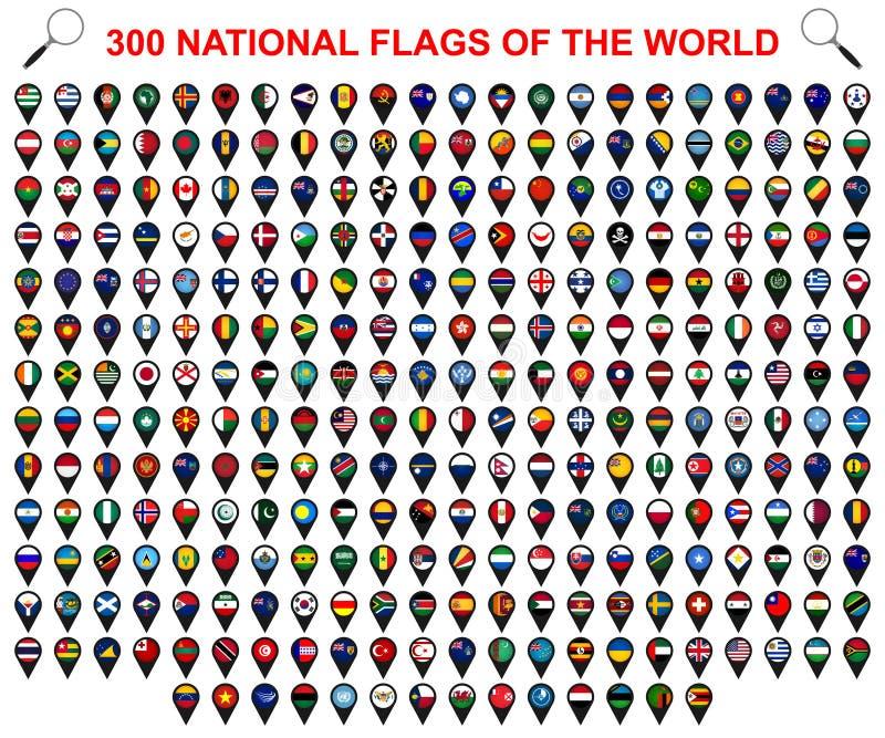 Todas las banderas nacionales oficiales del mundo Dise?o circular ilustración del vector