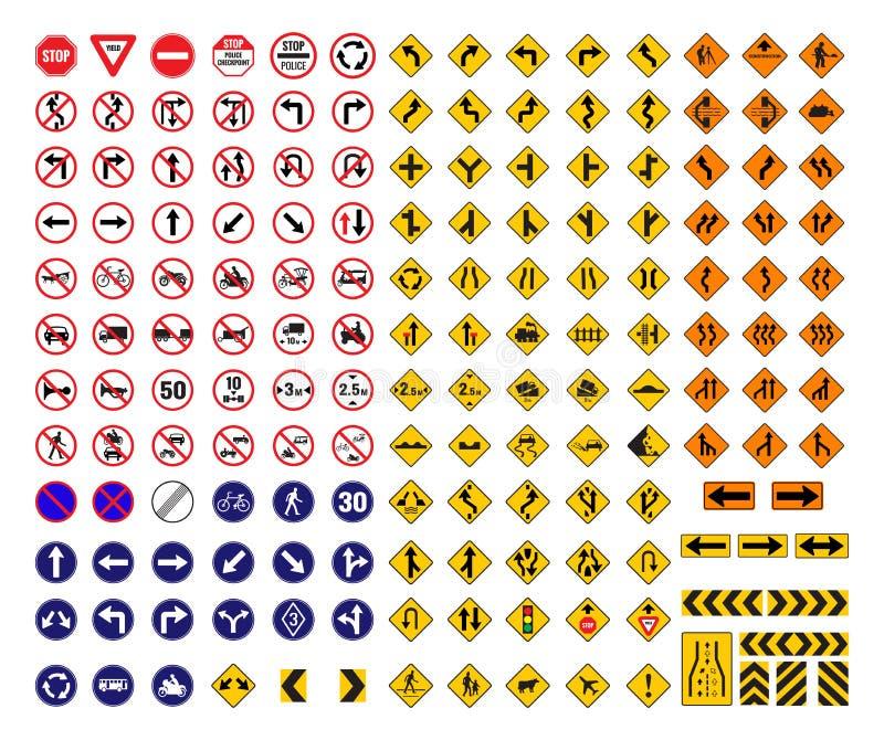 Todas las señales de tráfico stock de ilustración