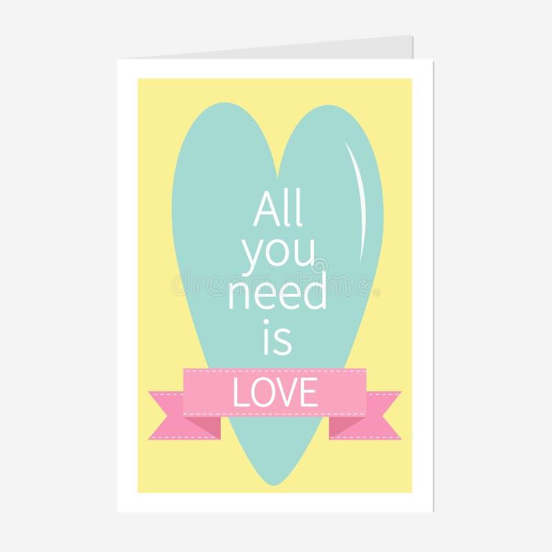 Todas lo que usted necesita son letras de amor con el corazón y la cinta rosada Impresión, cartel, tarjeta de felicitación Diseño stock de ilustración