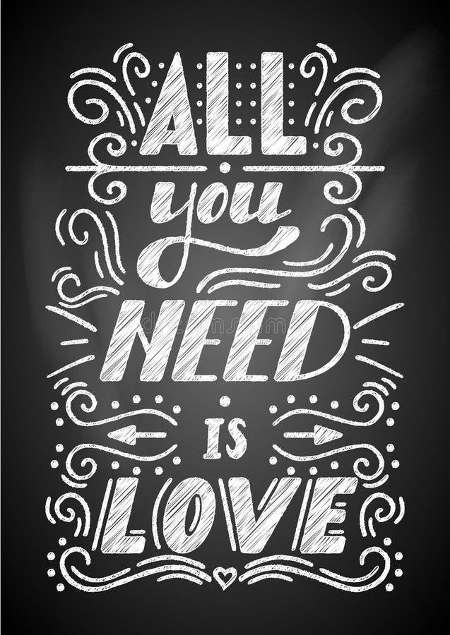 Todas lo que usted necesita son letras de amor en una pizarra libre illustration