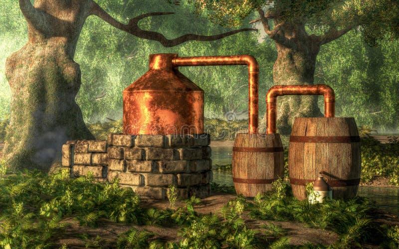 Todavía alcohol ilegal ilustración del vector