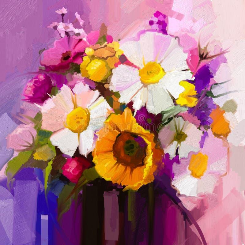 Todavía de la pintura al óleo vida de la flor blanca, amarilla y roja ilustración del vector