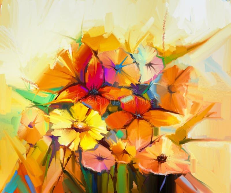Todavía de la pintura al óleo vida del gerbera amarillo, rosado y rojo, margarita ilustración del vector