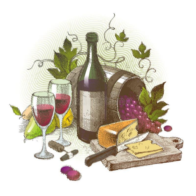 Todavía de la vendimia vida con el vino ilustración del vector