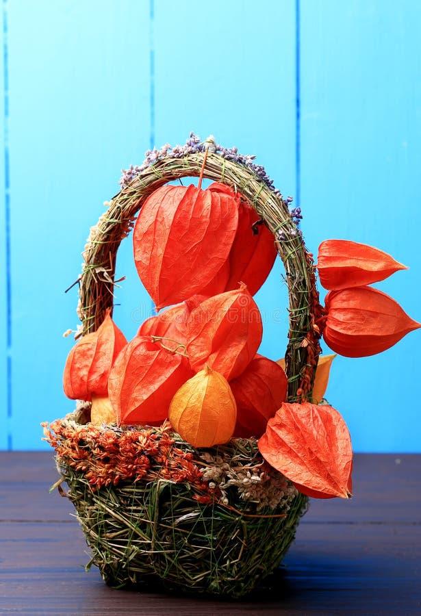 Todavía del otoño vida en un physalis rústico retro del estilo del fondo de madera en una cesta foto de archivo