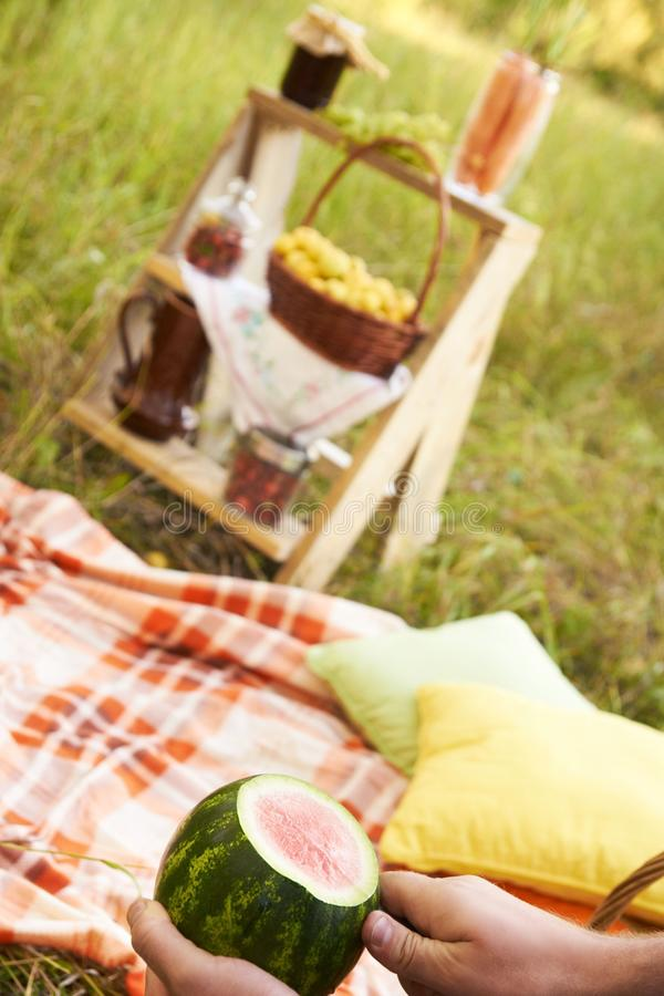 Todavía del otoño vida Sandía Comida campestre Lugar acogedor almohadilla imagenes de archivo