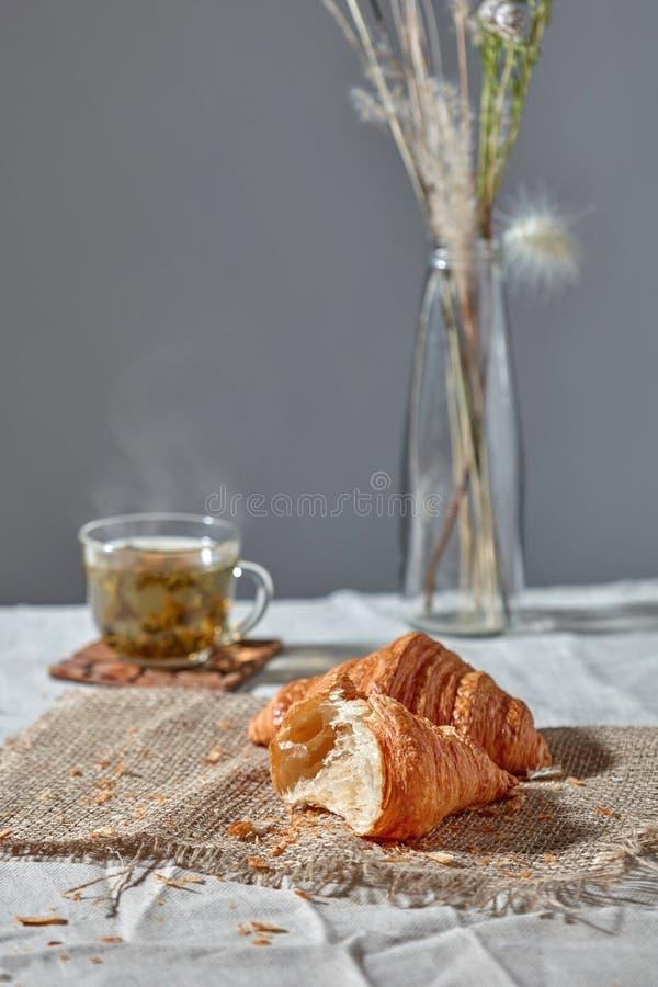 Todav?a desayunan la vida con t? verde y el croissanta fresco en un fondo gris imagen de archivo
