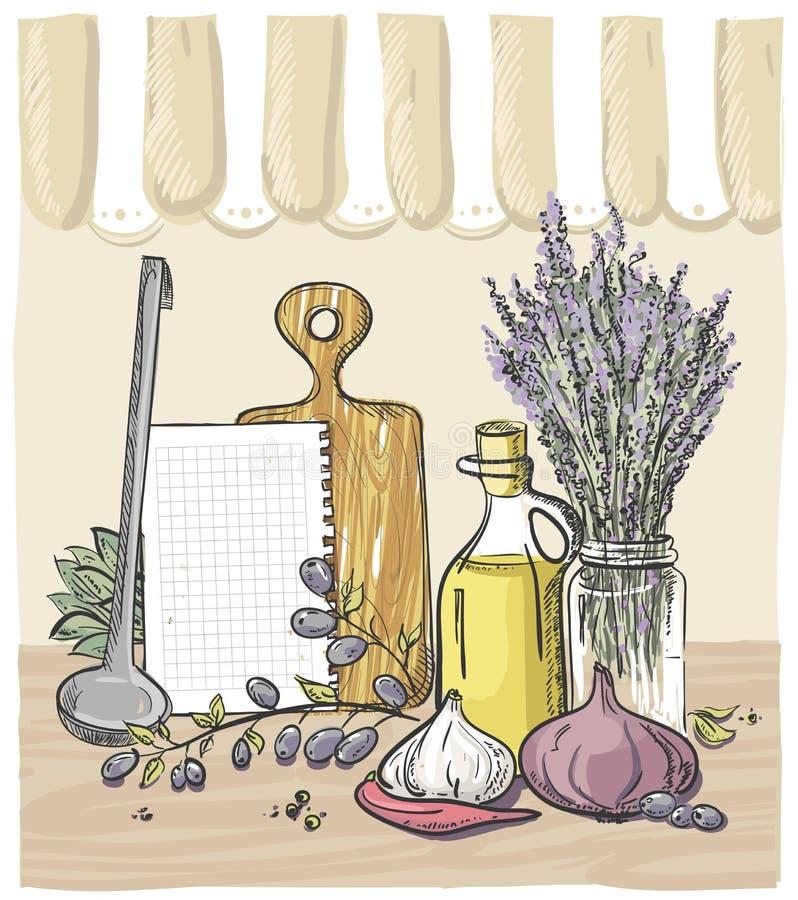 Todavía diseño de la vida con las verduras, el utensilio de la cocina, el ramo de lavanda y la botella de aceite de oliva ilustración del vector
