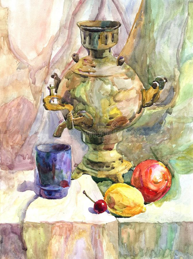 Todavía ejemplo exhausto de la comida de la mano de la vida con una tetera, los limones y las manzanas ilustración del vector