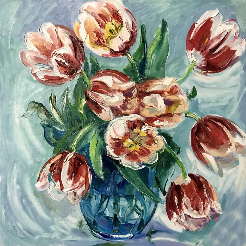 Todavía la vida florece en un florero de tulipanes rojos libre illustration