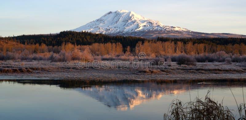 Todavía montaña Gifford Pinchot de Adams del lago trout de la salida del sol de la mañana fotos de archivo libres de regalías