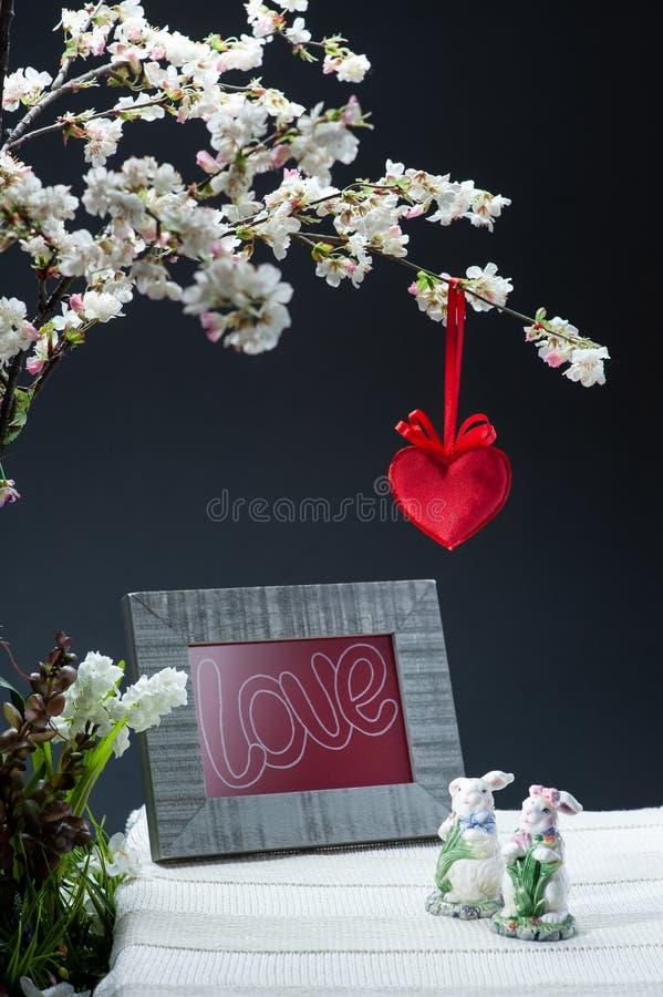 Todavía vida al día de tarjeta del día de San Valentín del St imagenes de archivo