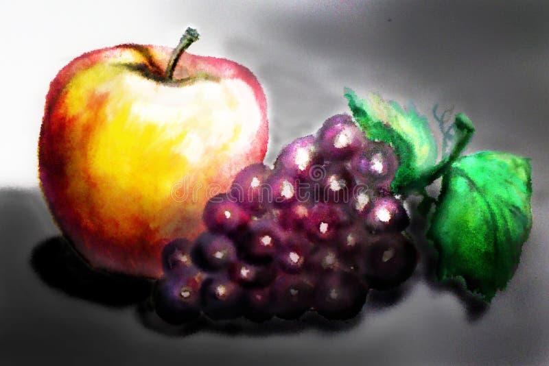 Todavía vida 1 Apple y uvas en un fondo oscuro handmade WA ilustración del vector