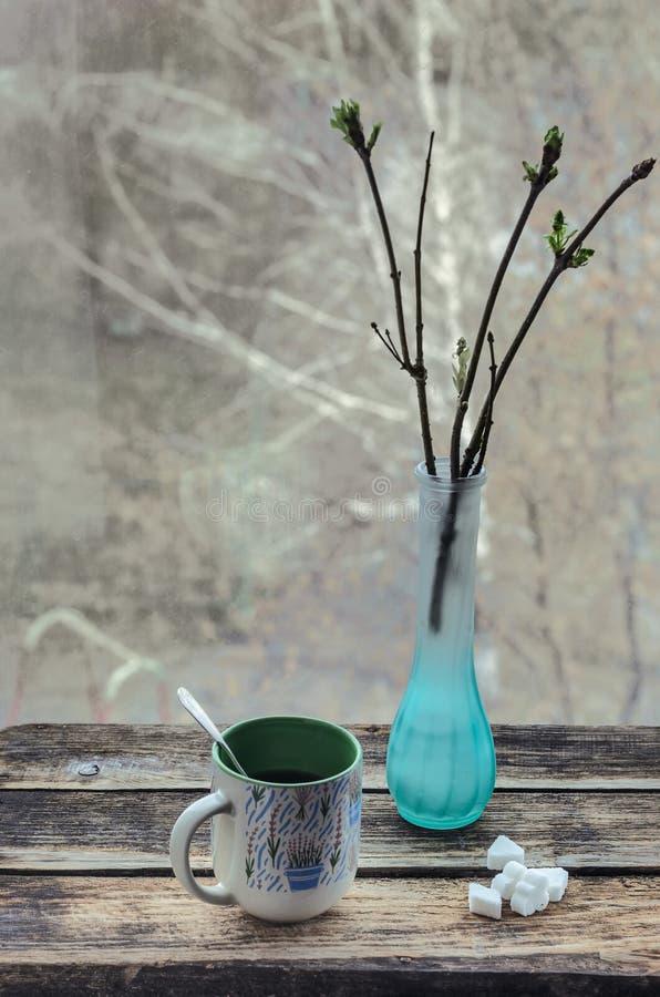 Todavía vida 1 Chocolate con la taza de té y de desayuno en la mañana soleada de la primavera o del verano imagen de archivo