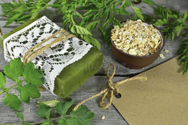 Todavía vida con el jabón verde y la avena fotografía de archivo libre de regalías