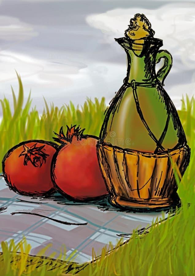 Todavía vida con el jarro y las frutas imágenes de archivo libres de regalías