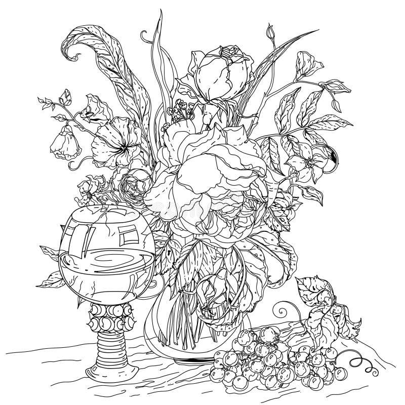 Todavía vida con las flores stock de ilustración