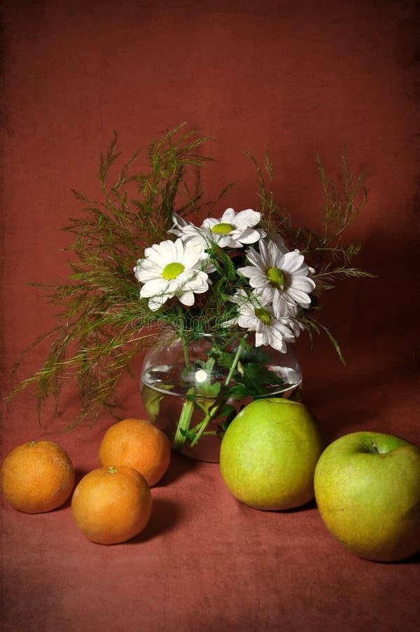 Todavía vida con las mandarinas y las manzanas imagenes de archivo