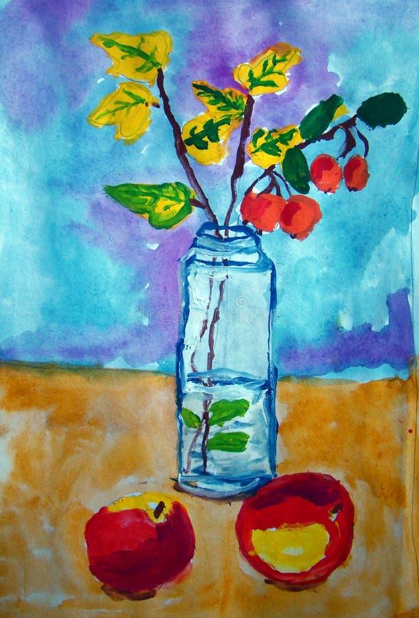 Todavía vida con las manzanas salvajes y del jardín pintadas por el niño libre illustration