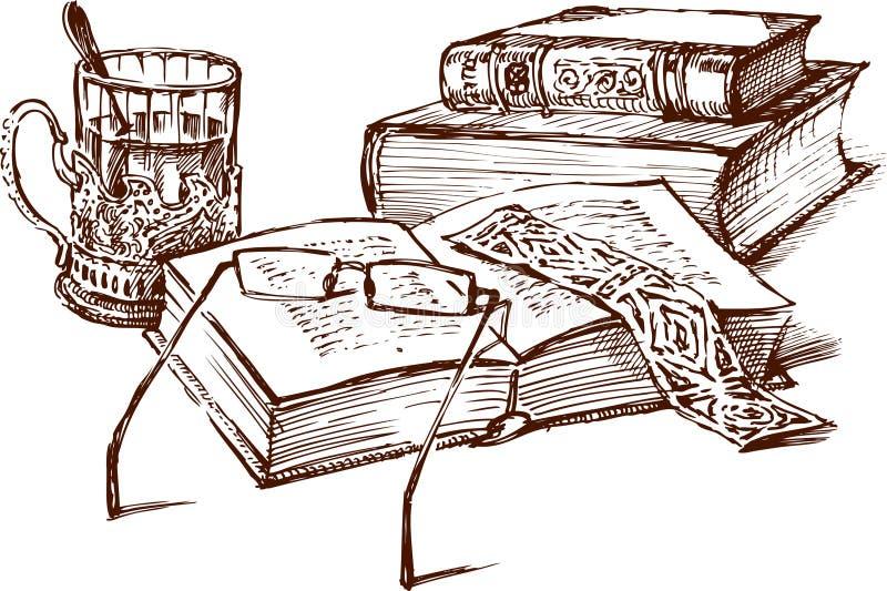 Todavía vida con los libros libre illustration