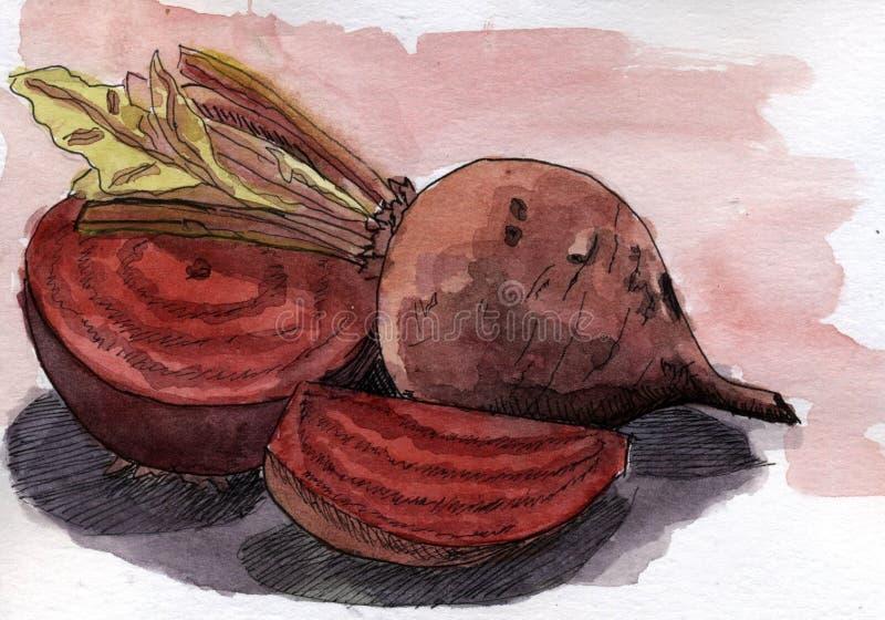 Todavía vida con remolachas en los tonos de Borgoña libre illustration