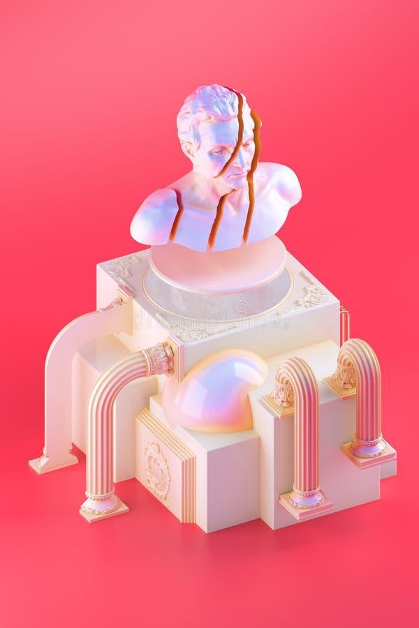 todavía vida 3d con la estatua rota del busto y formas cúbicas simples en fondo rojo stock de ilustración