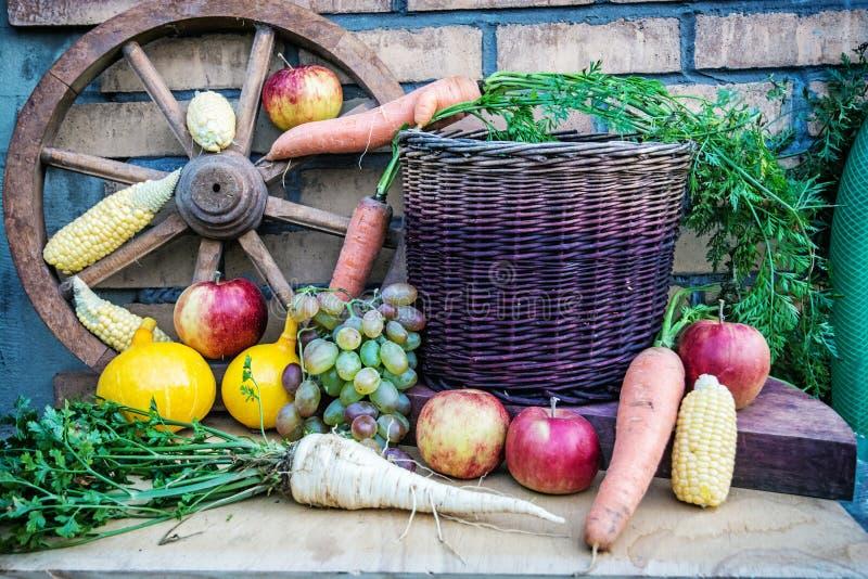 Todavía vida de frutas y verduras en otoño fotografía de archivo