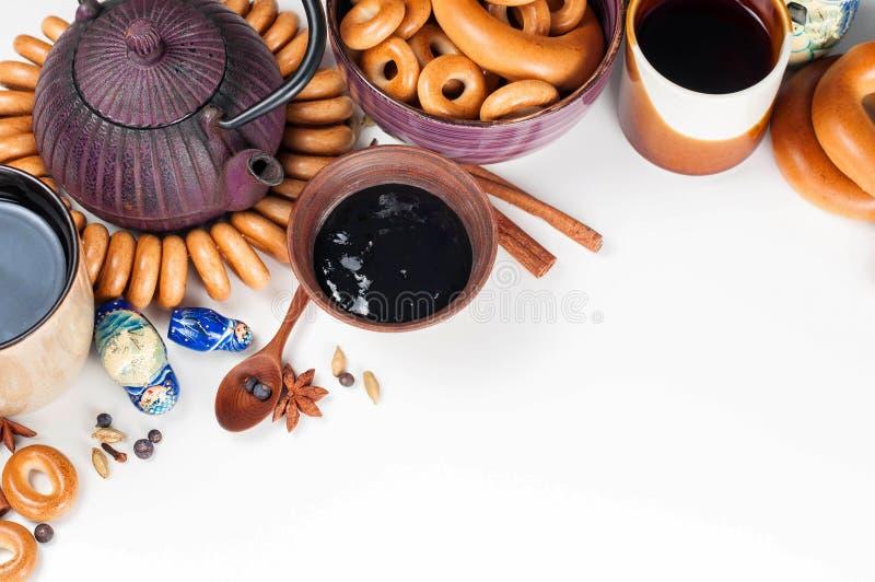 Todavía vida de la cocina ritual popular rusa Teaparty tradicional fotografía de archivo