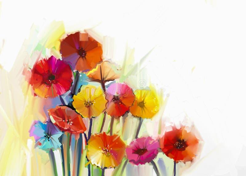 Todavía vida de la pintura al óleo de la flor del gerbera ilustración del vector