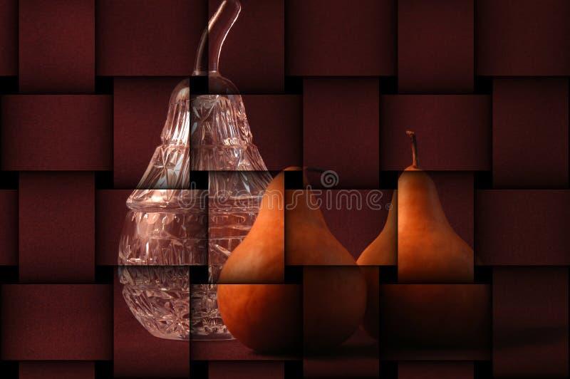 Todavía vida de peras con el cristal ilustración del vector