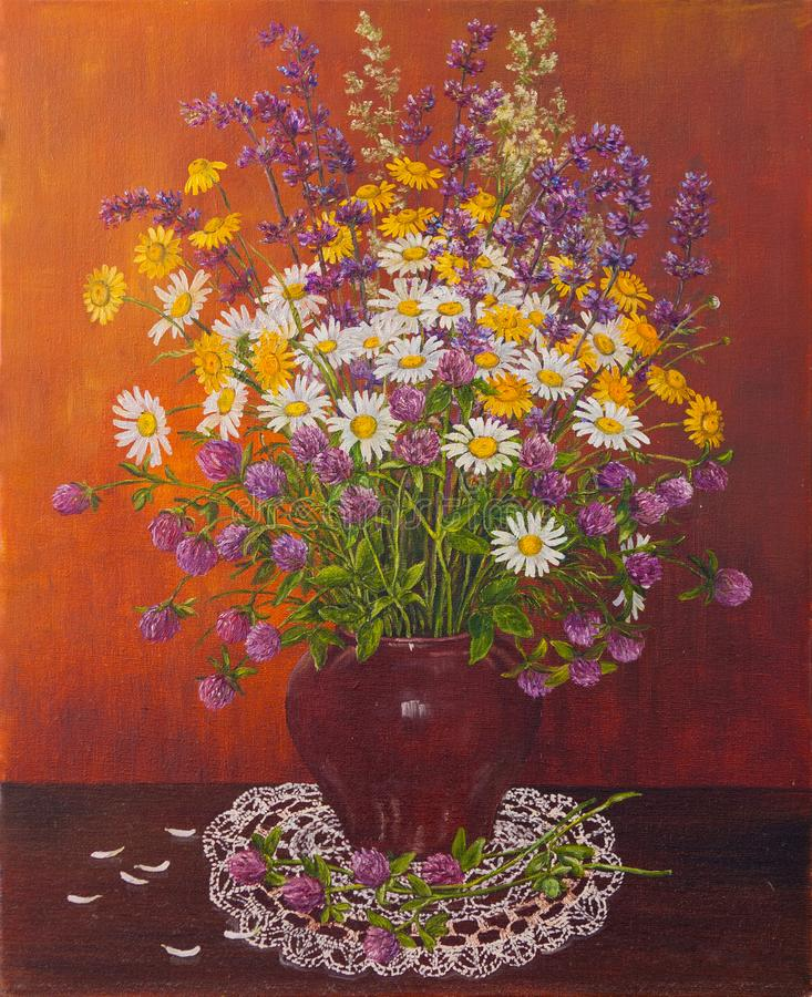 Todavía vida de un pote de arcilla de flores salvajes del ramo Pintura al óleo original Pintura del autor s ilustración del vector