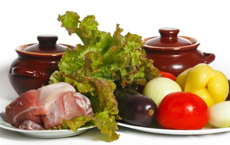 Todavía vida de verduras y de la carne fotografía de archivo