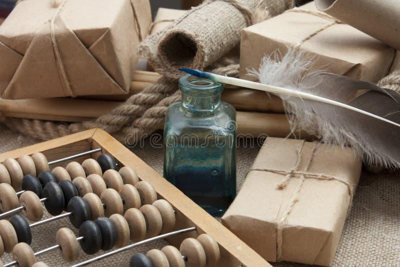 Todavía vida en un almacén con el ábaco fotos de archivo libres de regalías