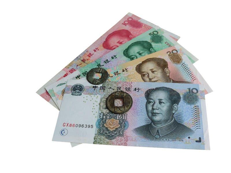 Today Chińscy banknoty i antyczne Chińskie monety fotografia stock